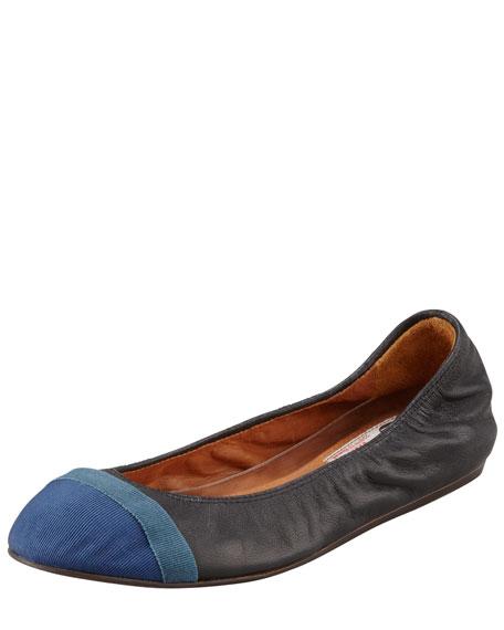 Grosgrain Cap-Toe Leather Ballerina Flat, Black/Blue