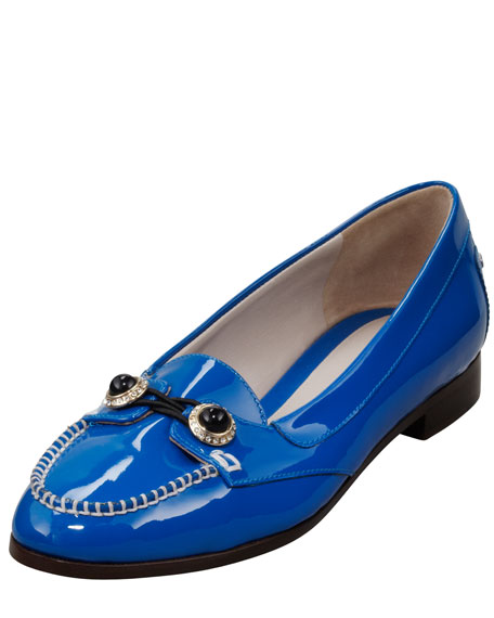 Patent Jewel-Button Oxford, Blue