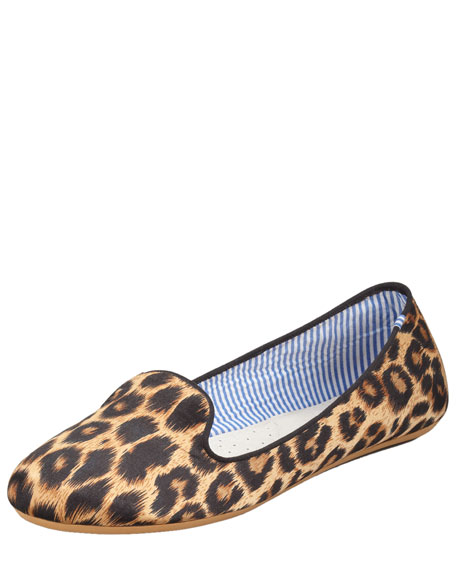 Sheila Leopard-Print Satin Smoking Slipper