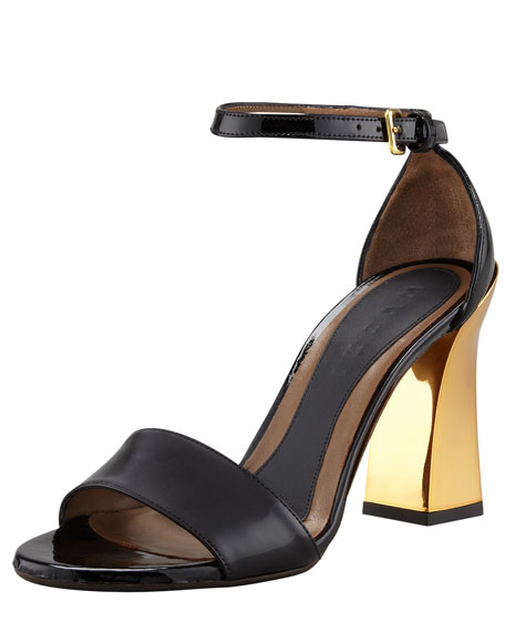 Mirror-Heel Ankle-Wrap Sandal