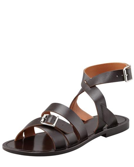 Double-Buckle Flat Ankle-Wrap Sandal, Dark Brown