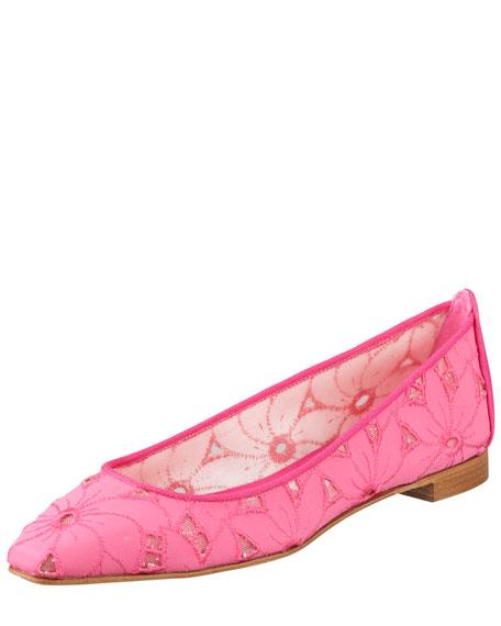 Leela Linen Eyelet Ballerina Flat