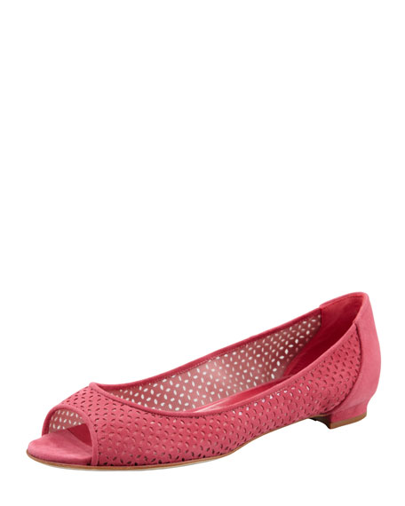 Anetina Perforated Ballerina Flat, Pink