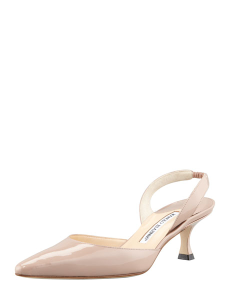 Carolyne Patent Low-Heel Halter Pump, Flesh