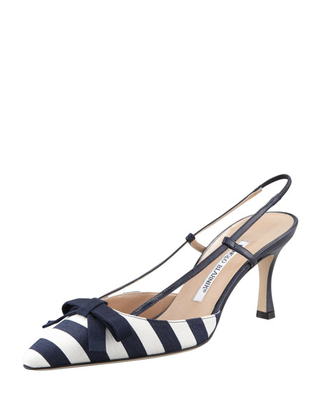 Striped Canvas Halter, Navy/White
