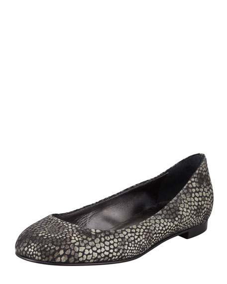 Tere Animal-Print Ballerina Flat, Gray