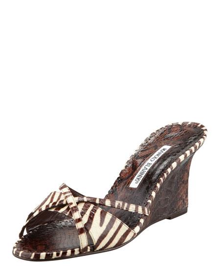 Betsy Zebra-Print Snakeskin Wedge Slide