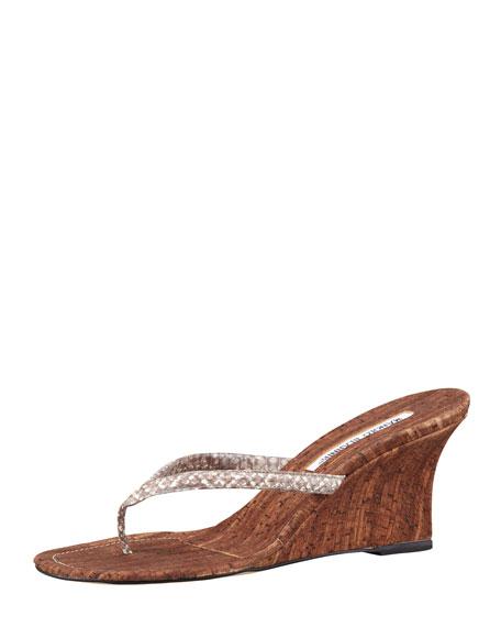 Patwedfac Snake-Strap Thong Wedge Sandal