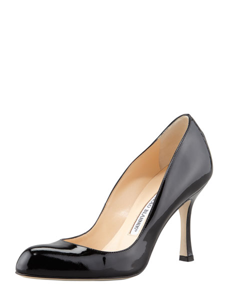 Manolo Blahnik Foka Almond-Toe Patent Leather Pump pi7Lh9Ip