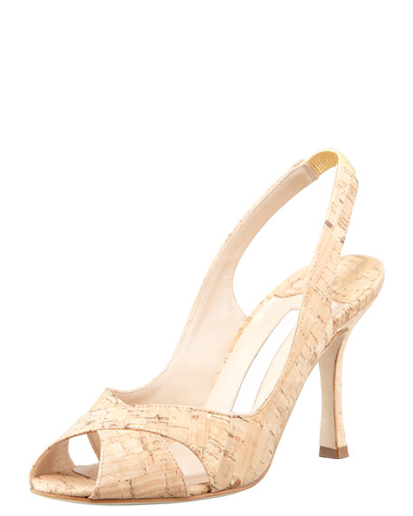 Puspari Metallic-Flecked Cork Slingback Pump