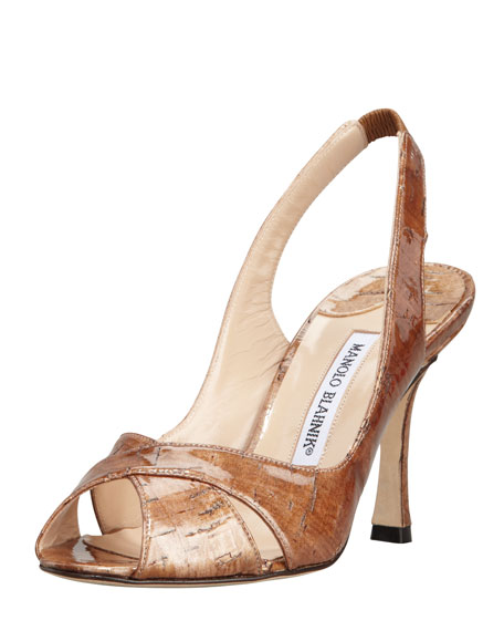 Puspari Metallic Cork Slingback Pump, Bronze