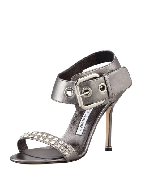 Koyru Studded Ankle-Wrap Sandal, Anthracite