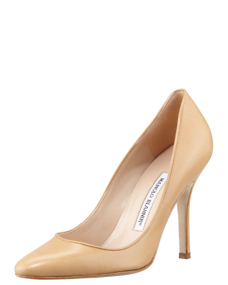 Tuccio Leather Pointed-Toe Pump, Beige