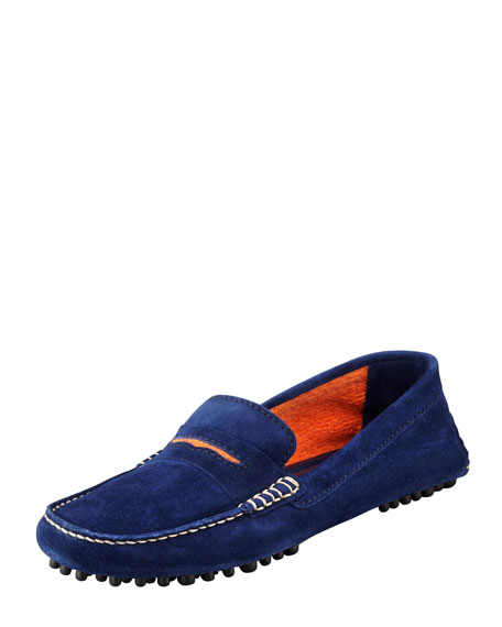 Terry-Trimmed Suede Driver, Navy/Orange