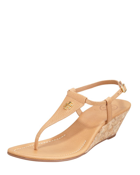 Britton Logo Wedge Thong, Royal Tan