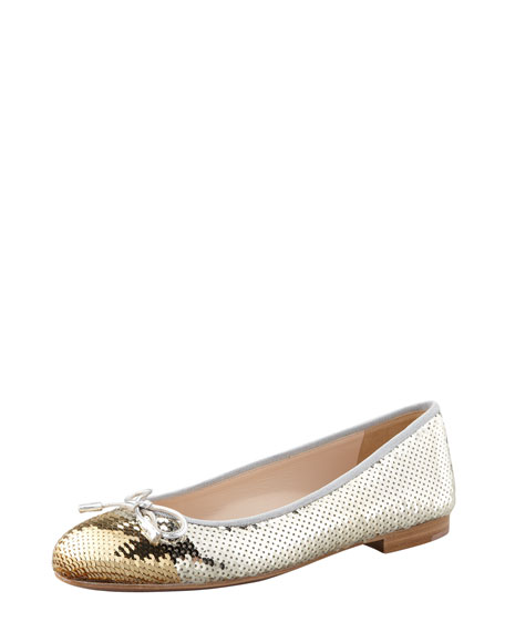 Bicolor Sequined Cap-Toe Ballerina Flat