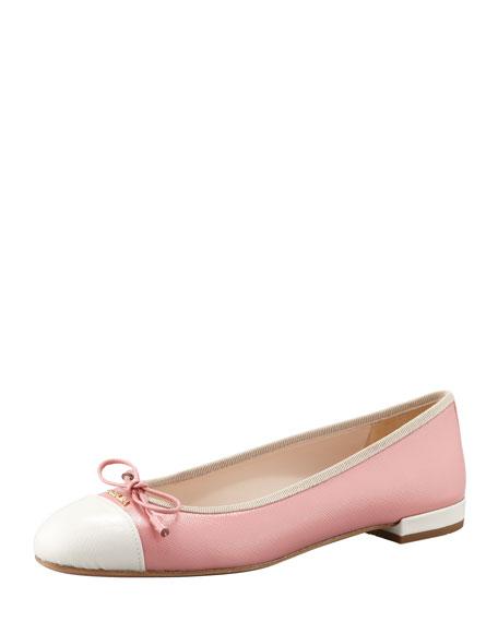 Patent Cap-Toe Ballerina Flat, Light Pink