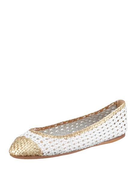Bicolor Woven Ballerina Flat, White/Gold