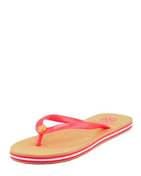 Neon Striped Rubber Flip Flop, Neon Pink