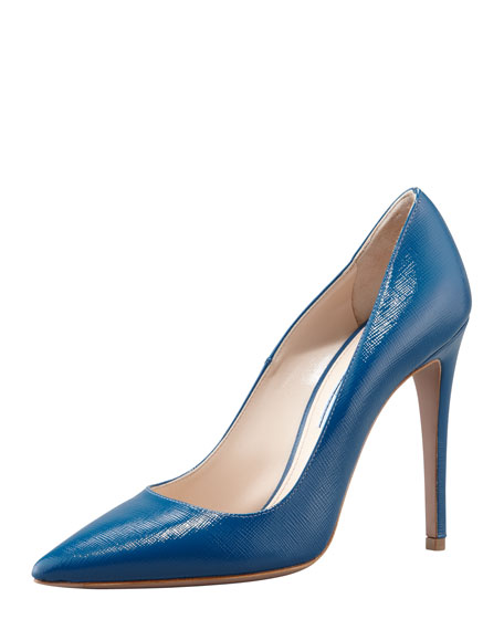 Patent Saffiano Pointed-Toe Pump, Cobalt