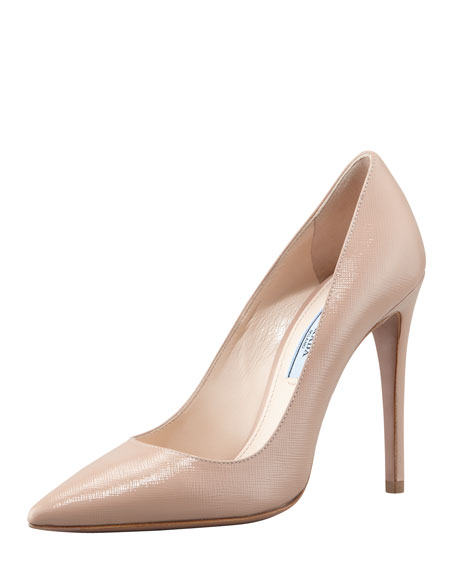 Patent Saffiano Pointed-Toe Pump, Cammeo