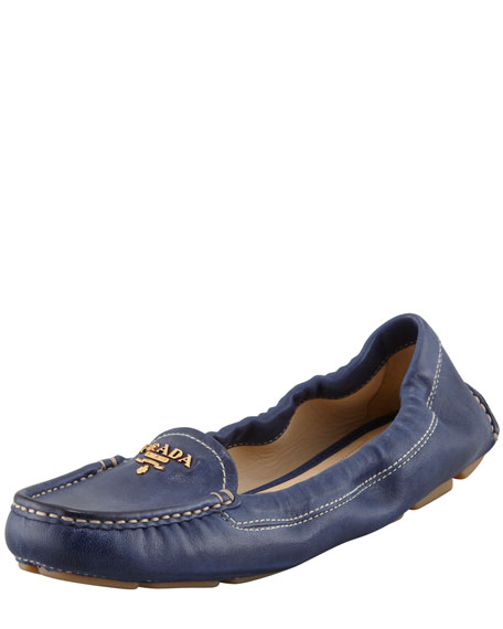Leather Scrunch Loafer, Navy