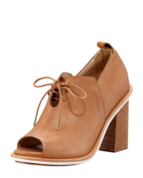Buckley Open-Toe Lace-Up Sandal Bootie, Tan
