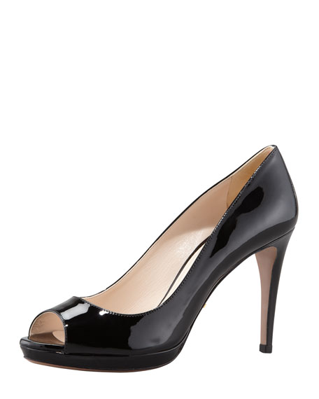 Patent Peep-Toe Pump, Black