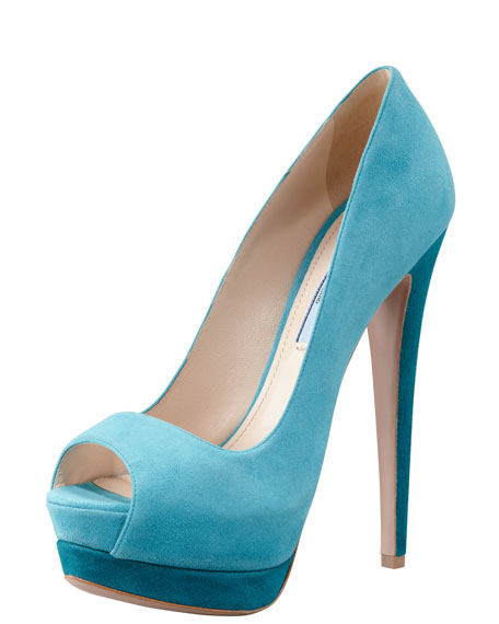 Suede Two-Tone Pump, Turquoise