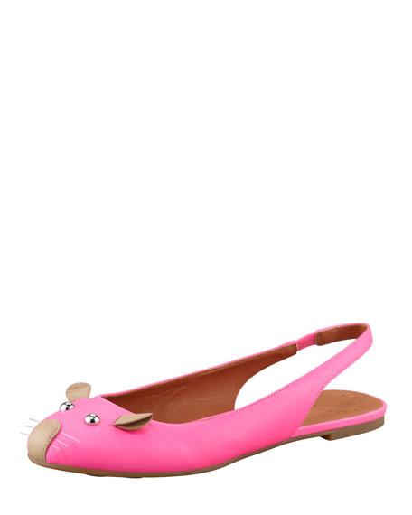 Mouse Slingback Ballerina Flat, Pink/Nude