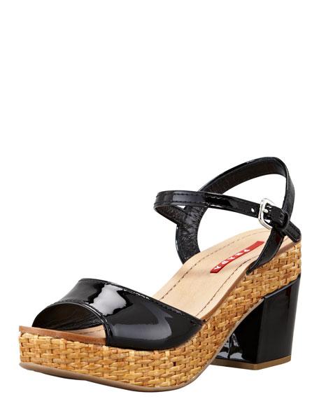 Patent Wicker Platform Sandal, Black