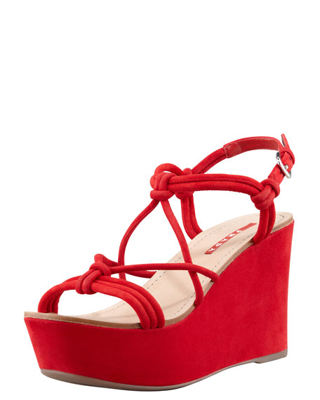 47d052e86288 Prada Suede Strappy Knot Wedge Sandal