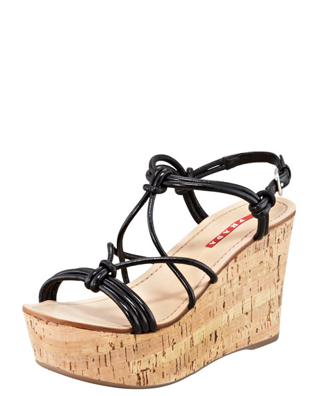 Strappy Knot Cork Wedge Sandal, Black