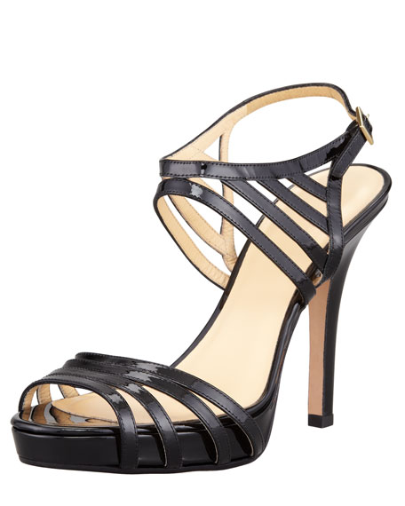 raven patent leather cage sandal, black