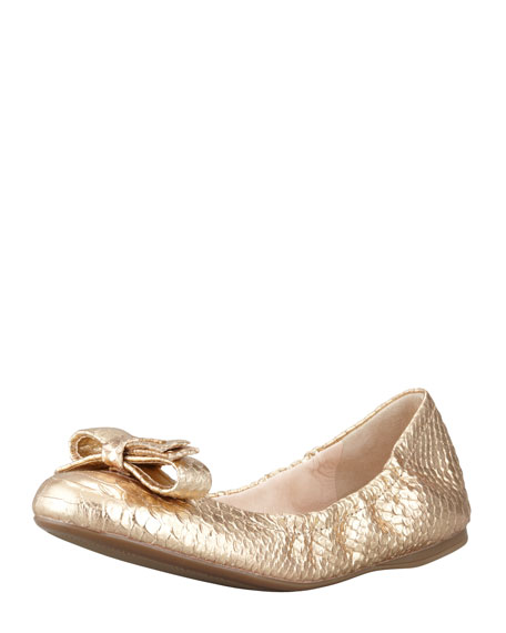 Metallic Python-Embossed Ballerina Flat