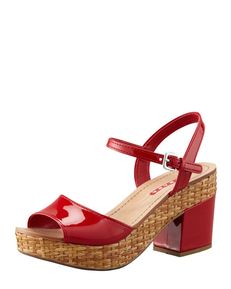 Patent Wicker Platform Sandal, Red