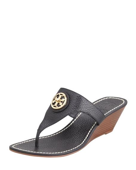 Selma Logo Wedge Thong Sandal, Black