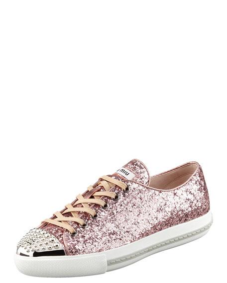 Glitter Stud-Toe Sneaker, Rosa/Pink