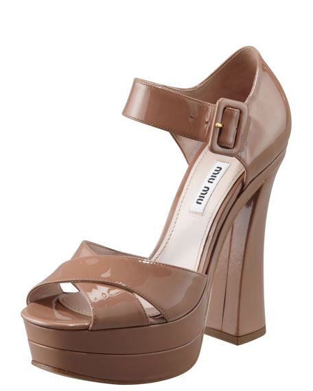 Patent Flare-Heel Sandal, Cammeo