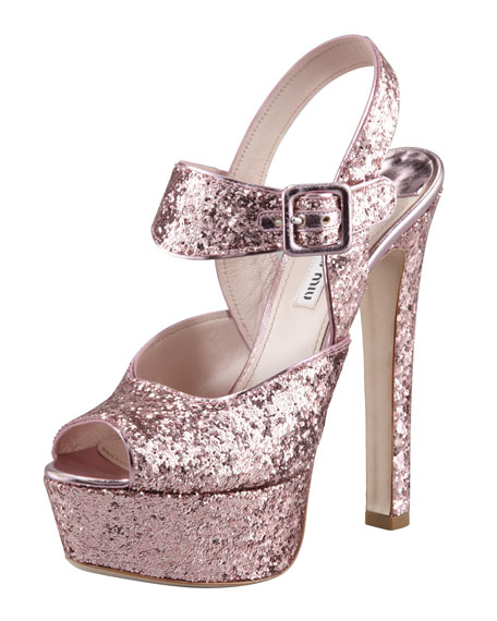 Glittered Peep-Toe Sandal