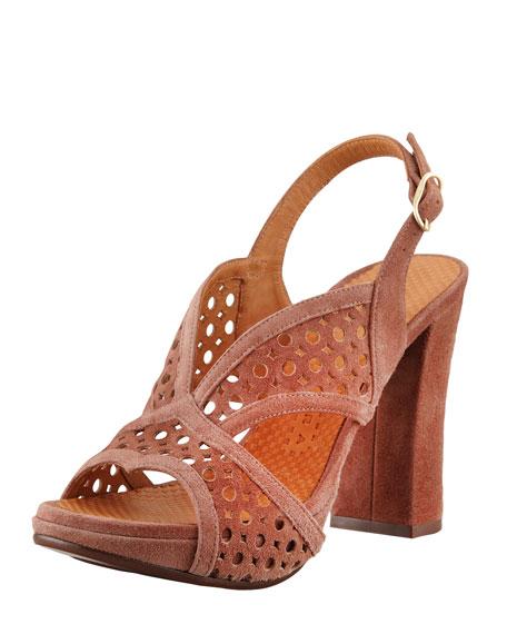 Crola Cutout Slingback Sandal, Cocoa
