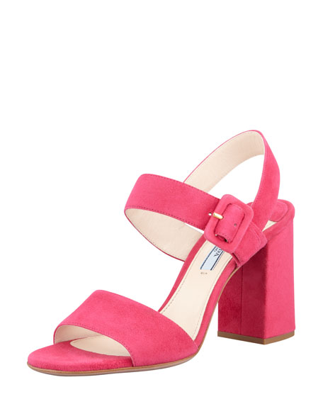 Suede Block-Heel Ankle-Wrap Sandal, Peonia