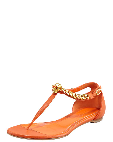Skull-Chain Leather Thong Sandal, Orange