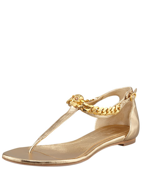 Skull-Chain Leather Thong Sandal, Gold