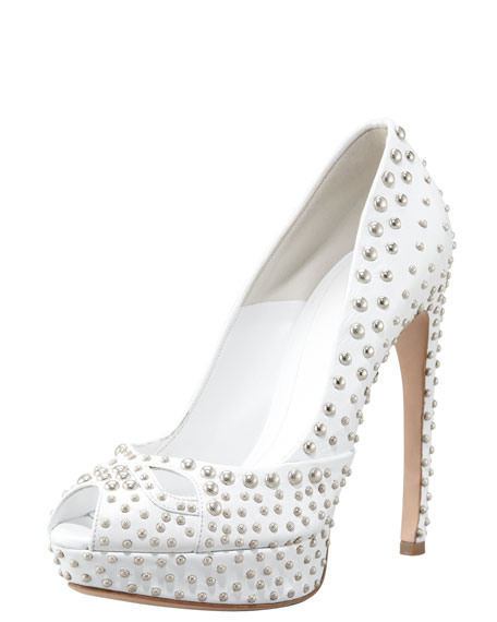 Studded Leather Pump, White