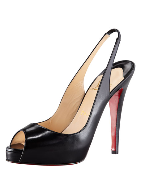 No Prive Leather Slingback Red Sole Pump, Black