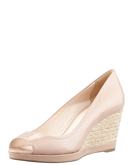 Patent Espadrille Wedge, Nude