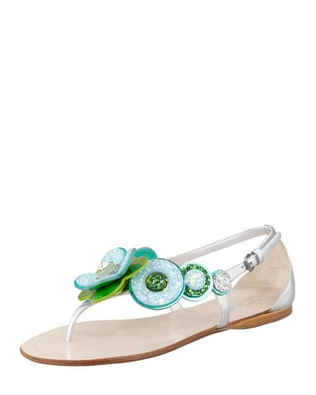 Glitter-Flower Flat Thong Sandal