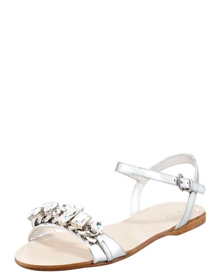Crystal Strap Flat Sandal, Silver