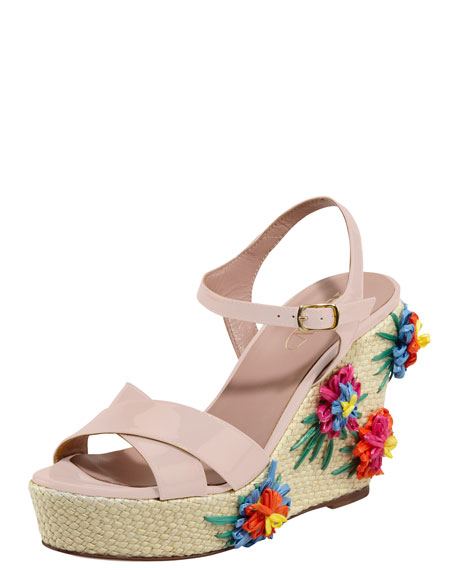 Embroidered Raffia Wedge Sandal